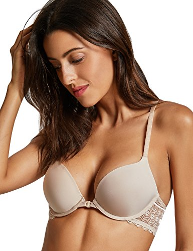 - DOBREVA Women's Front Close Bra Underwired T-Shirt Padded Push Up Bra Plunge Beige 38C