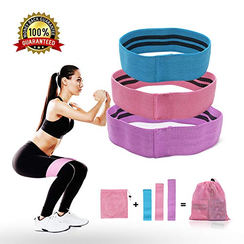 CyvenSmart Resistance Bands Exercise Bands Hip Booty Bands Workout Bands-Cotton Loop Resistance Band for Exercise Legs & Butt Body Stretching, Yoga, Pilates, Muscle Training (Pink)