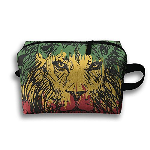 Rasta Flag Lion Portable Multifunction Travel Pouches Woman Cosmetic Storage Bags Coin Purse Makeup Bag Pencil Holder