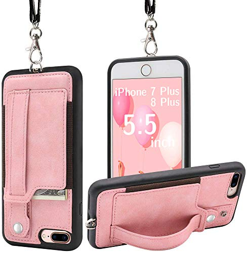 TOOVREN Upgraded iPhone 7 Plus Case, iPhone 8 Plus Wallet Case, Necklace Lanyard Case with Kickstand Card Holder, Ajust Detachable Anti-Lost Lanyard Strap Perfect for Daily use, Work, Outdoors Pink