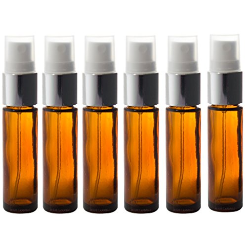 Aromatherapy Glass  Spray Bottles, 10ml (1/3oz) Amber Glass - Set of 6 for perfume, essential oils, travel