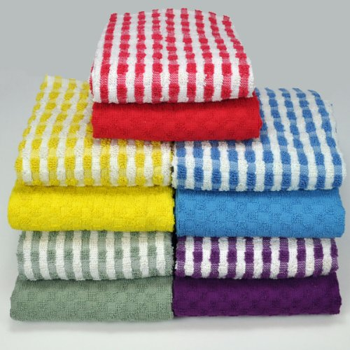 Kitchen-Restaurant-Hotel Terry Towels – Set of 8, mix of solid and  checkered pattern, terry waffle weave 100% Cotton (26 inch x 16 inch), by  Weavely