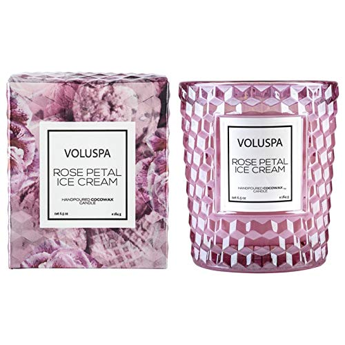 (Voluspa Rose Petal Ice Cream Classic Textured Glass Candle, 6.5 ounces)