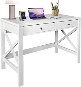 ChooChoo Home Office Desk Writing Computer Table Modern Design White Desk with Drawers