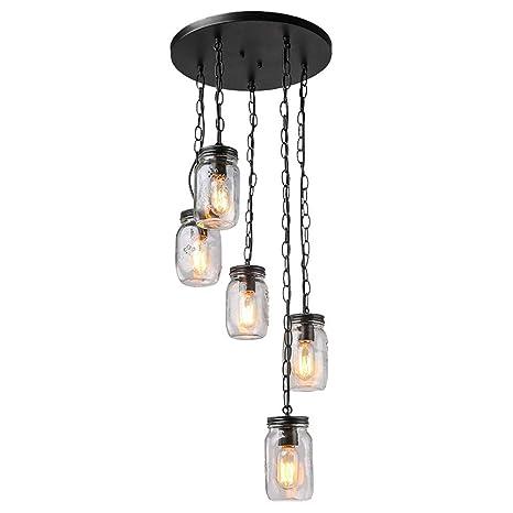 HuiKai Lámpara Colgante de 5 Luces Lámpara de Techo Botella ...