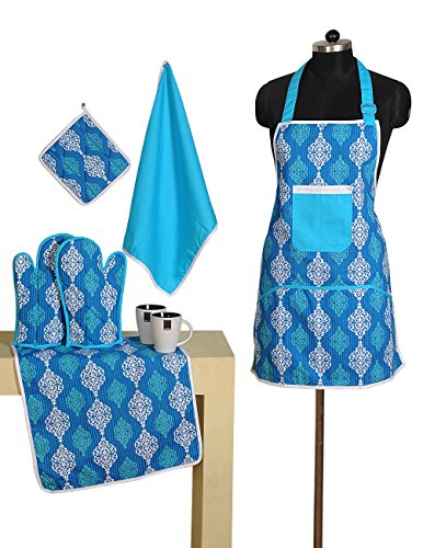 Patterned Cotton Chef's Apron Set with Pot Holder, Oven Mitts & Napkins - Perfect Home Kitchen Gift or Bridal Shower Gift (Grandmas Little Chef compare prices)