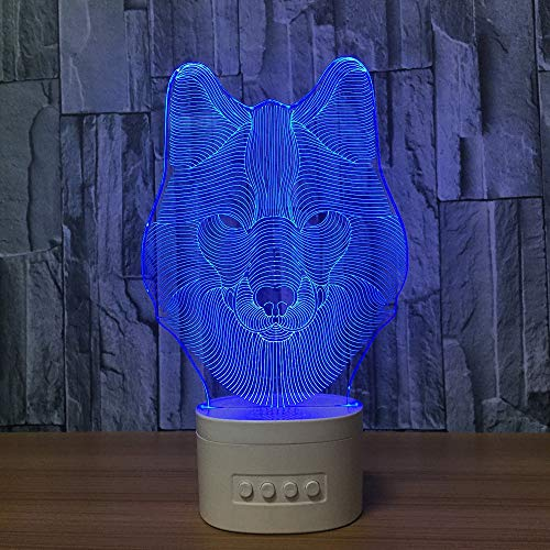 Acrylic Player Night Light - DOLPHINEGG Bluetooth Speaker with Colorful Changing Acrylic Wolf USB LED Night Light Music Player 3D Lamp Birthday