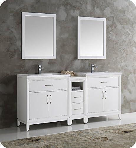 Amazon Com Fresca Cambridge 72 White Double Sink Traditional Bathroom Vanity W Mirrors Kitchen Dining