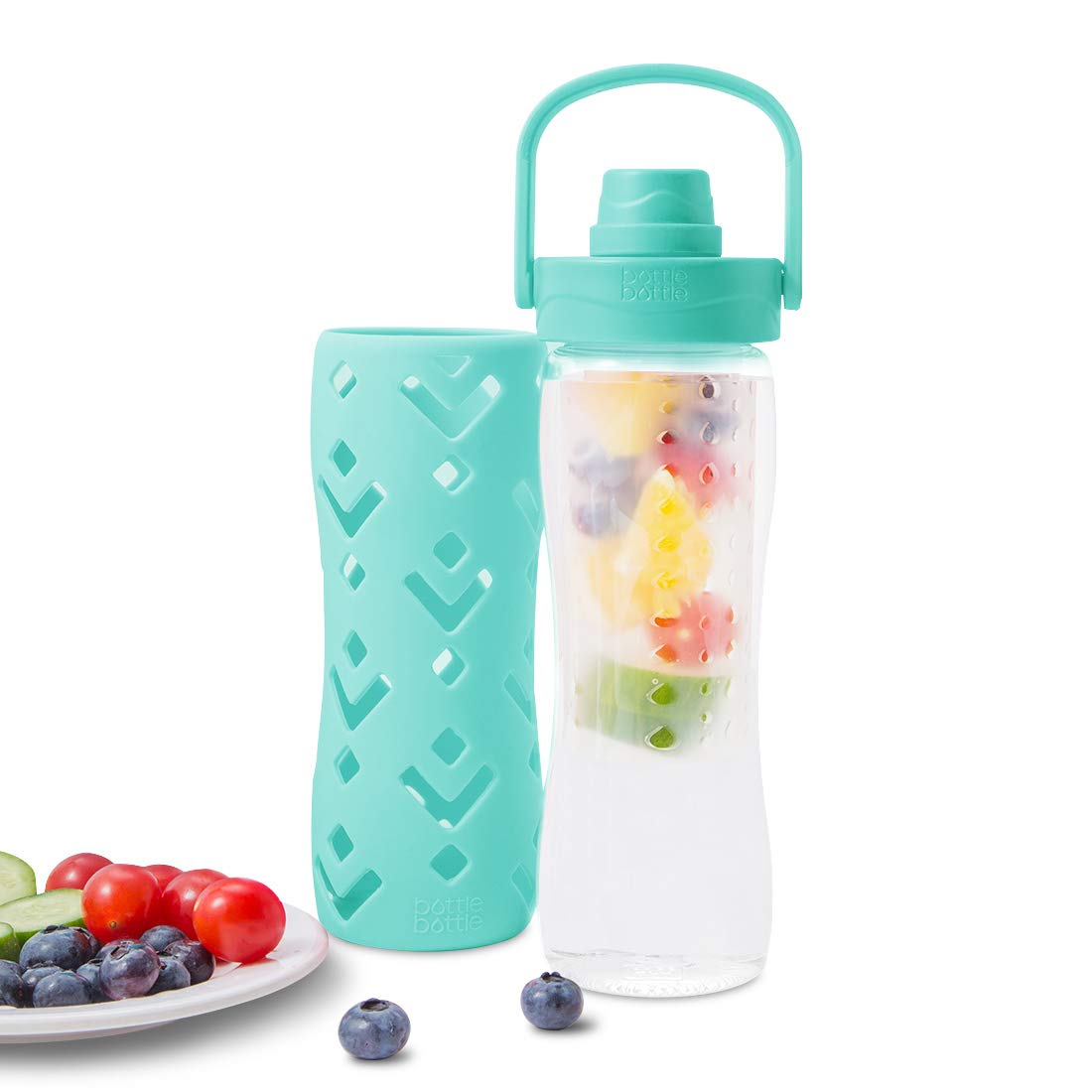 BPA Free Tritan bottlebottle Fruit Infuser Water Bottle with Handle Chug Lid Protective Insulated Sleeve 15.5oz