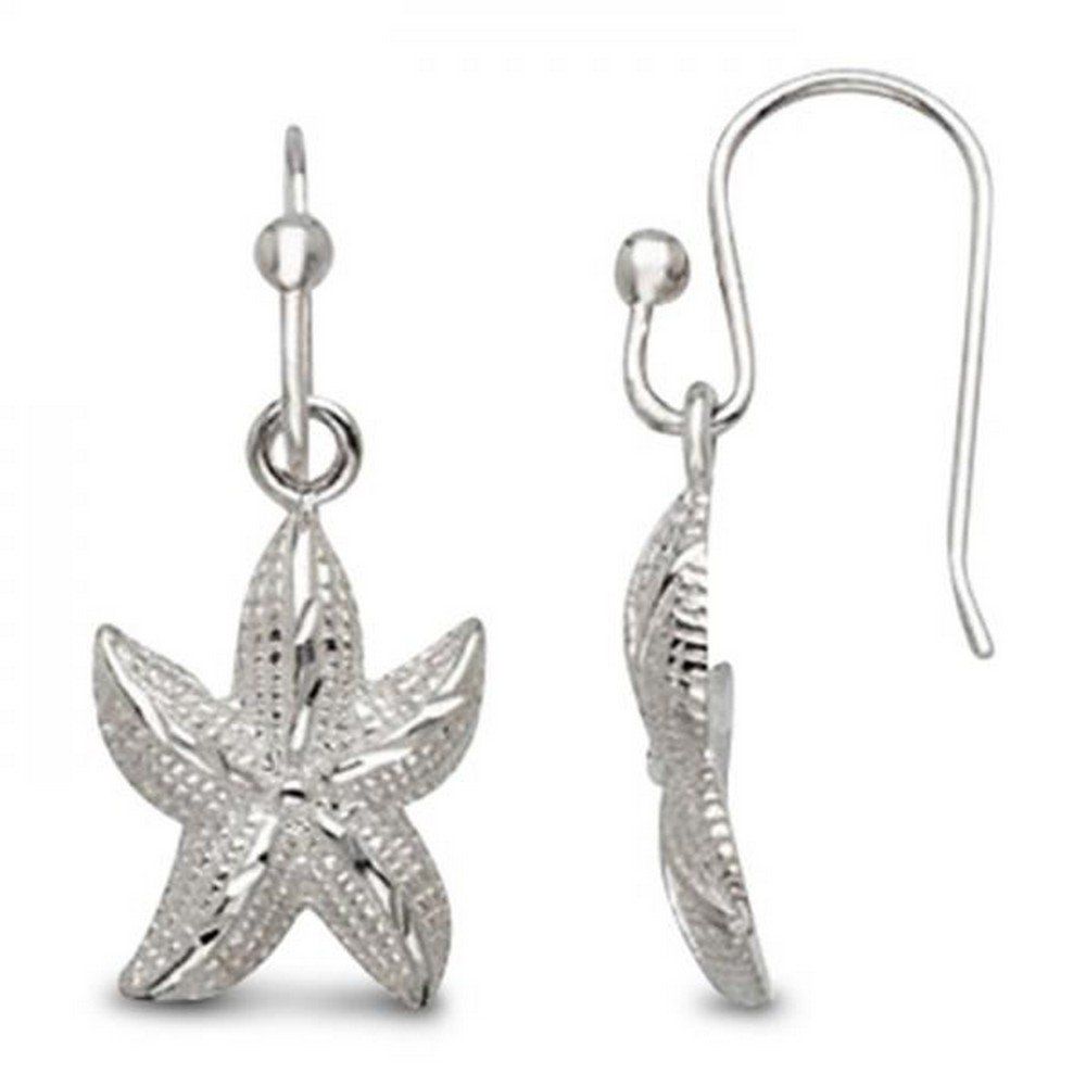 Nautical Theme Etched Starfish Earrings for Women with Comfort Fit Hooks Set in Sterling Silver