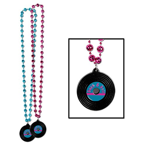 Beads w/Rock & Roll Record Medallion (asstd cerise & turquoise) Party Accessory  (1 count) (1/Card) (Medallion Bead Necklace)