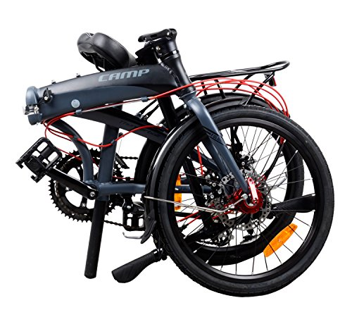 For Sale! Camp Adult Folding Bike for Men Women 20 inch Aluminum 16 Speed Shimano Gears Disc Brake w...