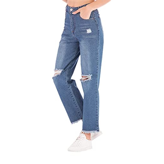 b7631c98a3 Kehen Women Relaxed Fit Straight Leg Jeans Casual Cropped Pants Loose Wide Leg  Denim Pants at Amazon Women s Jeans store