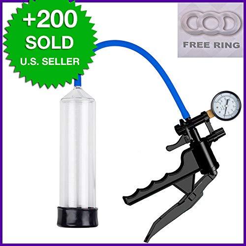 Plastic Pistol Pump w/Gauge QR Valve, Free Ring, Enlarger-Bigger-Vacuum