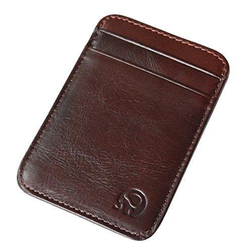 Slim Vintage Genuine Leather Wallet Front Pocket Credit Card Holder Sleeve Card case (Dark wine)