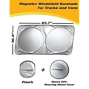 Magnelex Windshield Sunshade (X-Large) for Full Size Cars, SUVs, Trucks and Vans + Bonus Steering Wheel Sun Shade. Reflective Polyester Blocks Sun and Keeps Your Vehicle Cool (65.7 x 36.4 inches)