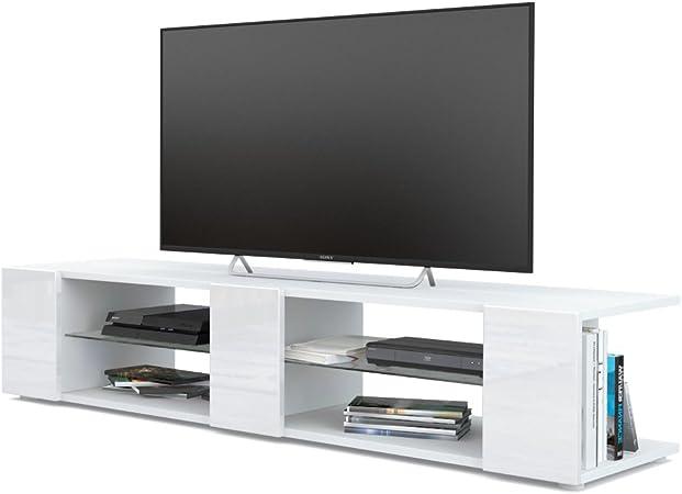 Mesa para TV Lowboard Movie V2, Cuerpo en Blanco Mate/Frentes en Blanco de Alto Brillo: Vladon: Amazon.es: Hogar