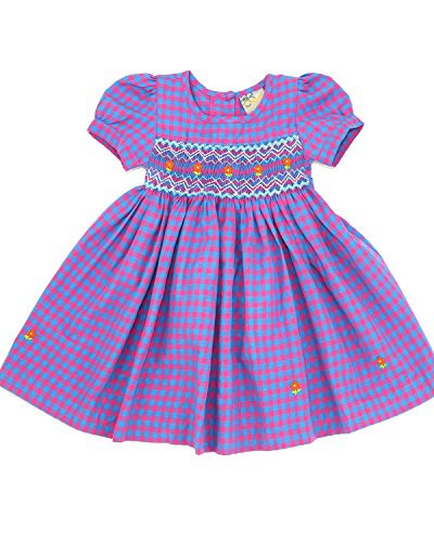 sissymini Lilian Beautiful Rich Lavender Gingham Hand Smocked & Embroidered Dress- 24M