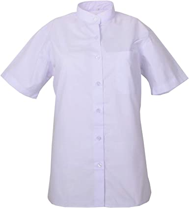 MISEMIYA - Camisa Uniforme Camarera SEÑORA Cuello Mao Mangas Cortas MESERO DEPENDIENTA Barman COCTELERA PROMOTRORAS Blusa - Ref.8271B: Amazon.es: Ropa y accesorios