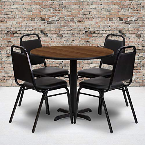 Flash Furniture 36'' Round Walnut Laminate Table Set with 4 Black Trapezoidal Back Banquet Chairs (Kitchen Tables Cheap Round)