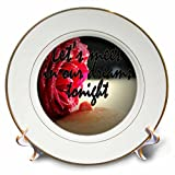 3dRose RinaPiro - Sex Quotes - Lets meet in our dreams tonight. Romantic red rose. - 8 inch Porcelain Plate (cp_261469_1)