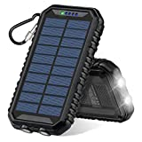 Solar Charger 12000mAh, ADDTOP Solar Power Bank Waterproof Portable External Battery Compatible with Most Smart Phones, Tablets and More
