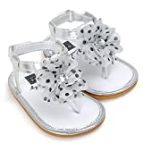 Baby Shoes, SHOBDW Baby Flower Pearl Sandals Toddler Princess First Walkers Girls Kid Shoes (6-12 months, Silver)