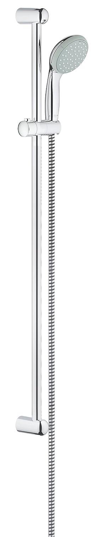 GROHE New Tempesta 100 shower rail set, rain shower set, with hand shower (100 mm), shower rail (600 mm) and shower hose (1.750 mm), 2 spray patterns, chrome, 27598000