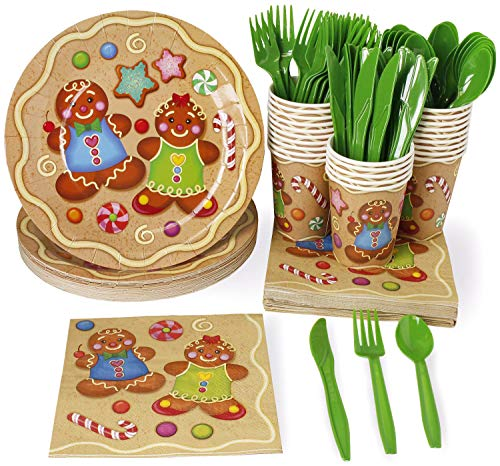 Christmas Disposable Dinnerware Set - Serves 24 - Festive Holiday Party Supplies, Boy and Girl Gingerbread Cookie Design, Includes Plastic Knives, Spoons, Forks, Paper Plates, Napkins, -