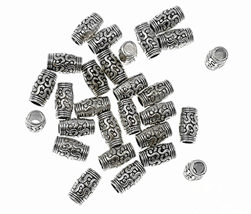 ALIMITOPIA 60pcs Long Spacer Bead,Buddhism Tube Beads with Decorative Embossment Pattern Charm Pendant for DIY Bracelet Necklace Jewelry Making Findings(Antique Silver Tone)