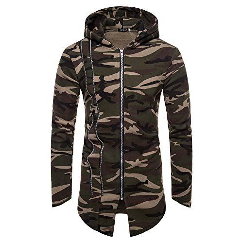 (Hooded Camouflage Zipper Coat Men Jacket Cardigan Long Sleeve Outwear Blouse )