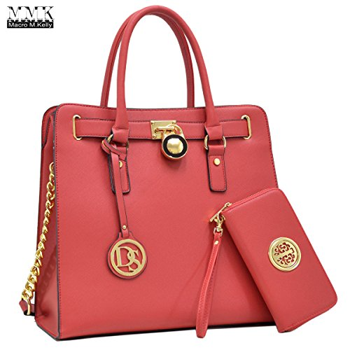MMK collection Women Fashion Matching Satchel handbags with wallet(2597/0326)~Designer Purse for Women ~ Perfect Women Purse and wallet~ Beautiful Designer Handbag Set (MA-XL-02-2553W-RD)