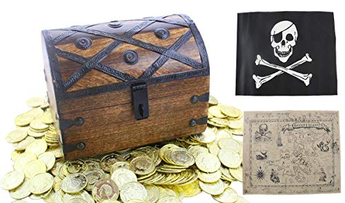 Well Pack Box Large Wooden Pirate Treasure Chest Kids Toys 8 x 6 x 6 Deluxe Lock Hasp Gold Plastic Coins Nautical Map Authentic Jolly Roger Flag -