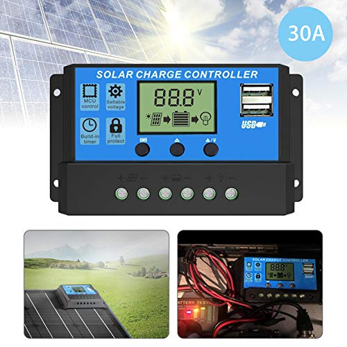 EEEKit Solar Charge Controller, Dual USB Port Solar Panel Battery Intelligent Regulator, Multi-Function Adjustable LCD Display Street Light Controller, 12V24V 30A