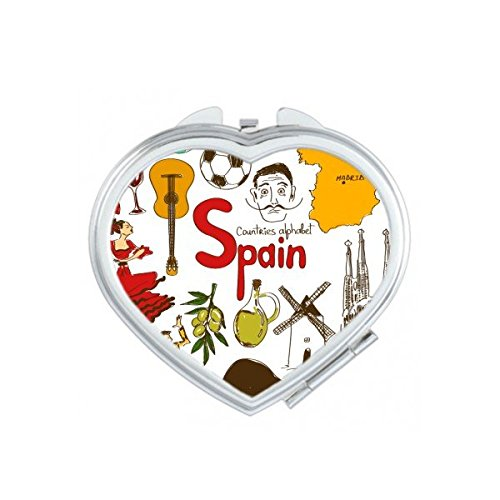 Spain Landscape Customs Landmark Animals National Flag Resident Diet Illustration Pattern Heart Compact Makeup Pocket Mirror Portable Cute Small Hand Mirrors by DIYthinker