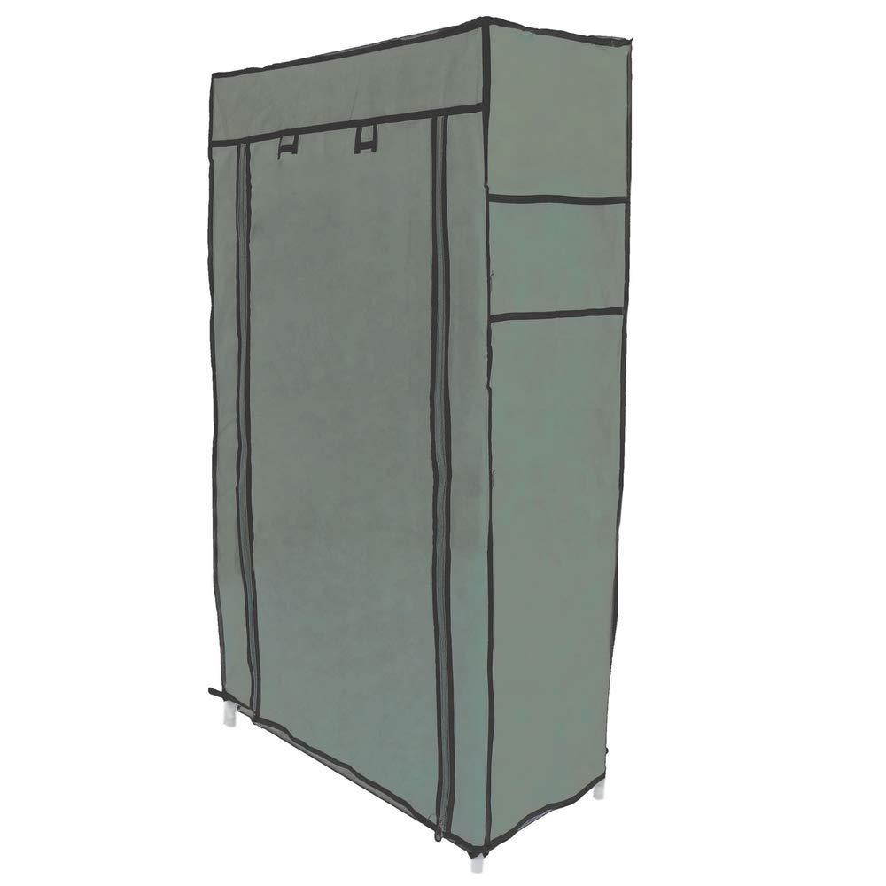 Armario ropero y Zapatero de Tela Desmontable 60 x 30 x 76 cm Beige con Puerta Enrollable PrimeMatik
