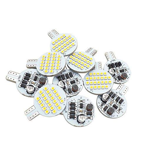 Grv T10 921 C921 LED Bulb Light 921 194 24-3528 SMD lamp Super Bright AC/DC 12V -24V Warm White Version 2.0 Pack of 10 by GRV