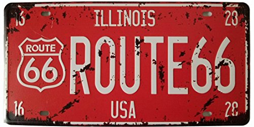 ILLINOTS Route 66 Retro Vintage Auto License Plate Tin Sign Embossed Tag Size Home Pub Bar Decor 6 X 12