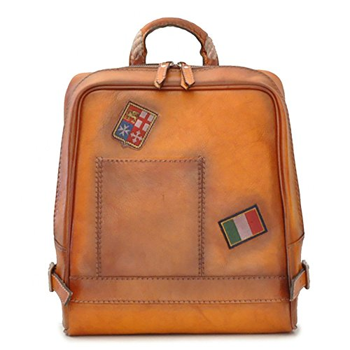 Pratesi Unisex Personalized Custom Initials Embossing Italian Leather Firenze Laptop Backpack in Cow Leather in Cognac