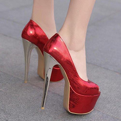 Sexy Plataforma 16cm Delgados Boca Mujer Impermeable Rojo Tacones Pescado De Zapatos Pu nz01FYpn