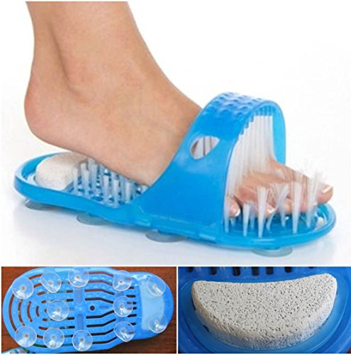 - 1-Pc Good Popular Clean Brush Massager Slippers Easy to Wash Shower Tools File Scrubber Bath Shoe Colors Blue