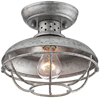 "Franklin Park 8 1/2"" Wide Galvanized Outdoor Ceiling Light"
