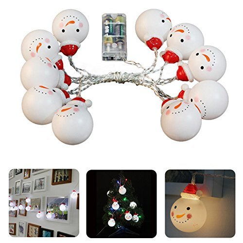 White Christmas Decorations Snowman String Lights Decorative Light Strings String Lights Christmas Lights for X-mas Tree, Garden, Patio, Indoor and Outdoor Decor (Snowman Light String)
