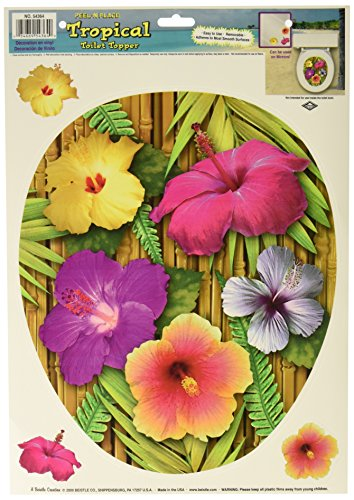 Tropical Toilet Topper Peel 'N Place (3 hibiscus included) Party Accessory  (1 count) (1/Sh)]()