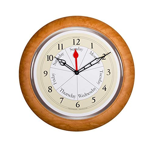 DayClocks CM Contemporary Maple Analog Clock - Displays Day of Week & Time of ()