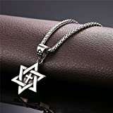 Men Boys Cross Star of David Pendant with 22 Inch