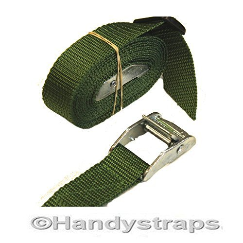 2 x 25mm 1.5 meter Med Luggage Trailer tie down CAM BUCKLES CAR Roof Rack straps (green) Handystraps
