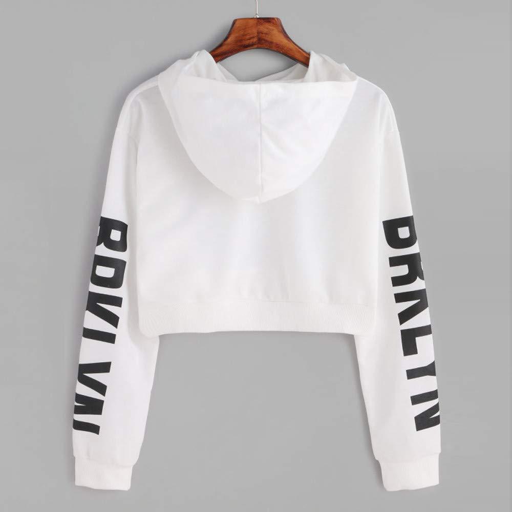 Crop Hoodies Sweatshirt,Womens Letters Long Sleeve Letter Pinted Pullover Tops Blouse by-NEWONESUN