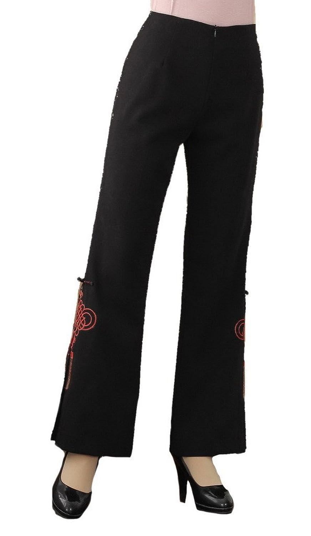 Bigood Women Tang Suit Embroidery Vintage Casual Pants Elastic Waist