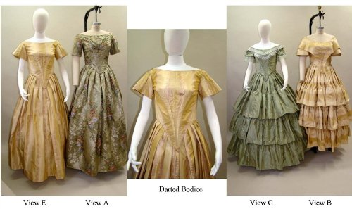 Steampunk Sewing Patterns- Dresses, Coats, Plus Sizes, Men's Patterns Ladies Ball Gown Dress 1840-1863 Civil War 6-34 Laughing Moon Pattern 117 $24.45 AT vintagedancer.com